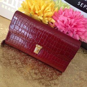 Etienne Aigner redish crock style wallet nwt
